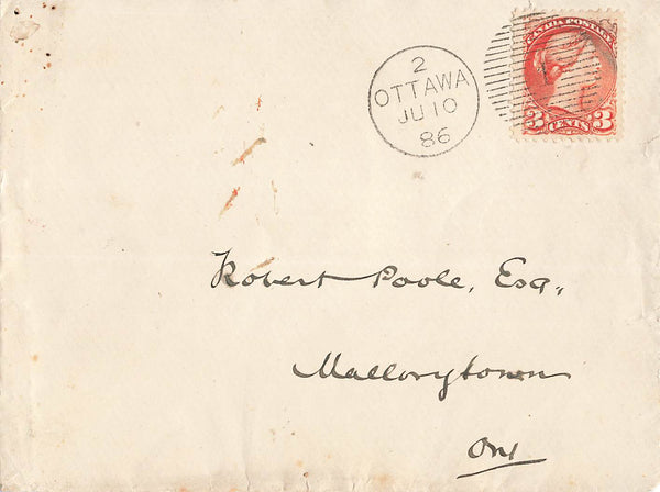 Ottawa, ON. 1896 Canada Cover. Duplex. Red Handstamp. B/S