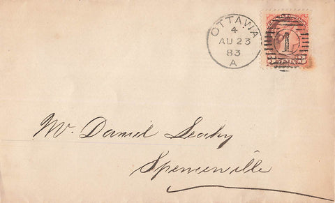 Ottawa, ON. 1883. Small Queen Cover. Duplex 1. Lumber Merchants. Canada