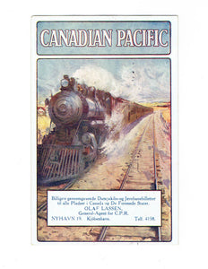 Locomotive Train Canadian Pacific Postcard From Denmark. B/S