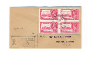 St. John's, NL. 1936 Registered Cover. To USA. #226. Silver Jubilee. Canada