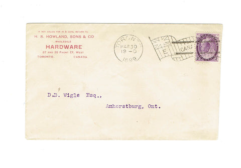 "Toronto, ON. 1899 Advertising Cover With Flag Cancel. ""E"". Howland Hardware. Canada"