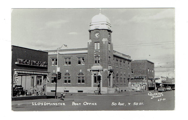 Lloydminster, SK. RPPC Postcard. Post Office With Clock Tower. Quarton Studios. Canada.