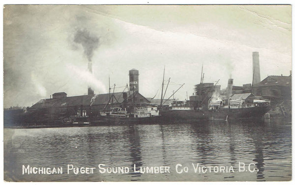 Victoria, BC. RPPC Postcard. Michigan Puget Sound Lumber Co. 1910's. Canada.