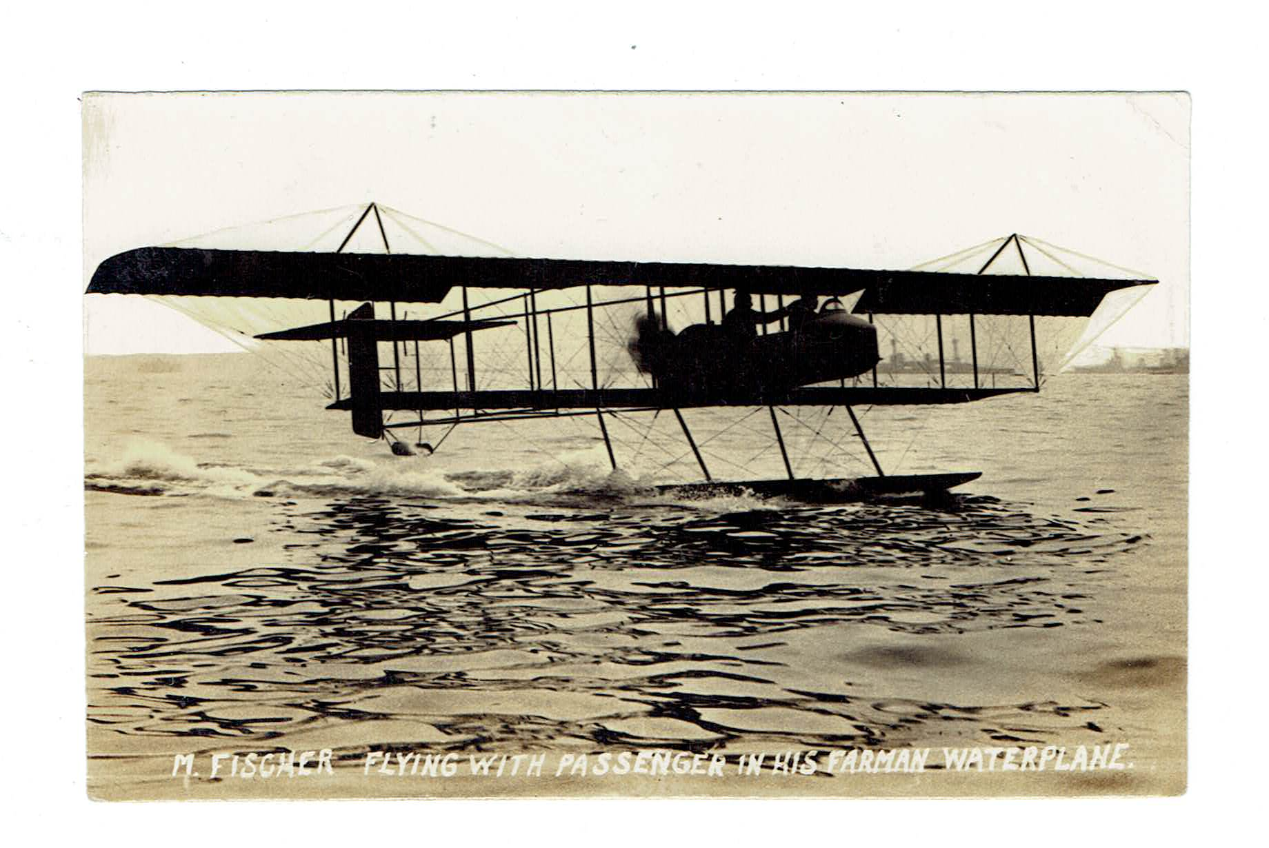 Aircraft Float Plane On Water. 1912. RPPC Postcard. Piloted By M. Fischer