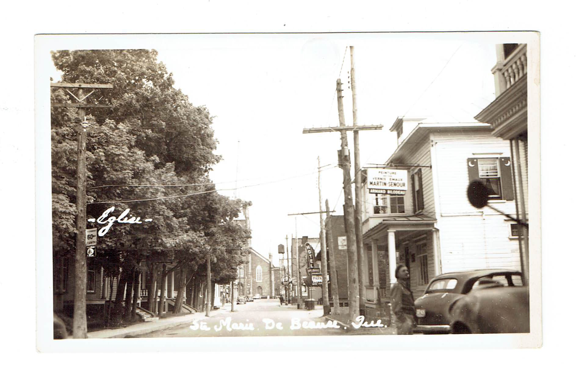 PQ, St Marie de Beauce. Street Scene With Church. RPPC Postcard. Canada