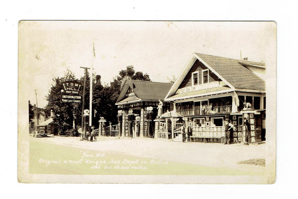 ON, Orillia. Tom Hill Gas Depot And Hot Dog Stand. RPPC Postcard. Canada