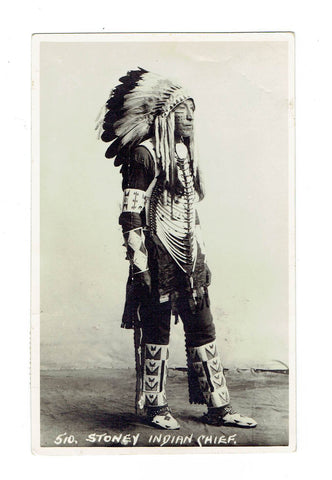 "Byron Harmon. #510. ""Stoney Indian Chief"". RPPC Postcard"
