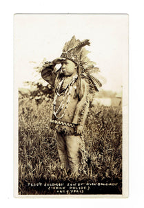 "Native American Child, Son Of Nick Solomon Of The ""Indian Police"". RPPC Postcard"