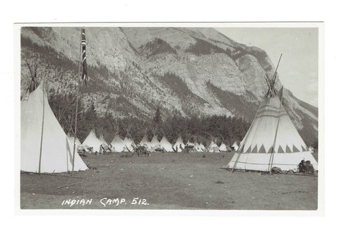 "Byron Harmon. #512. ""Indian Camp"". Postcard"