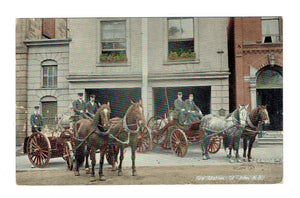 St. John, NB. Fire Station With Horses And Wagons, 1909. Postcard. Canada