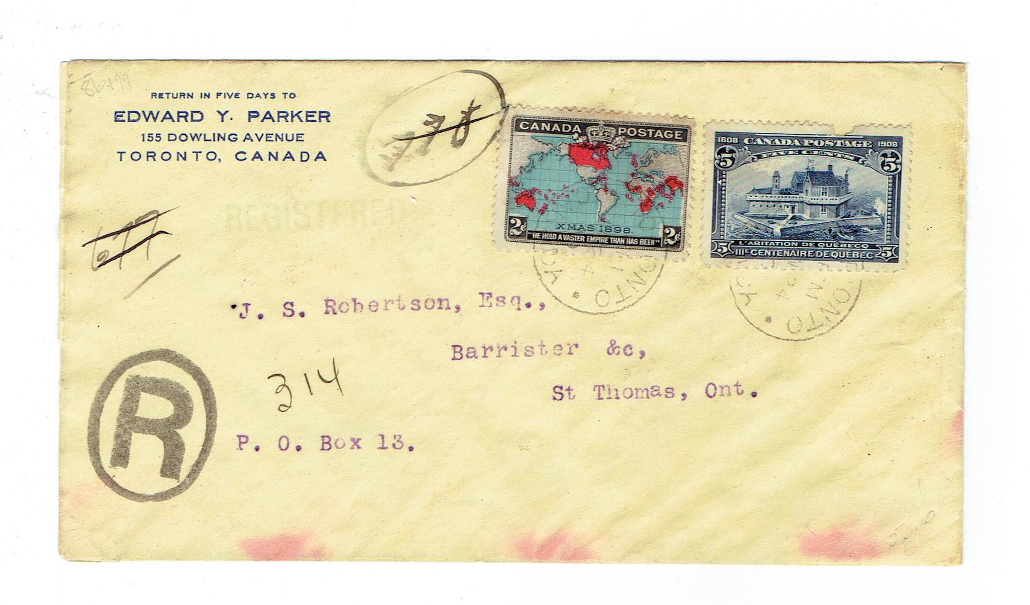 1910 Registered Cover. Toronto, Ont. to St Thomas. B/S. Tercentary And Map Issue