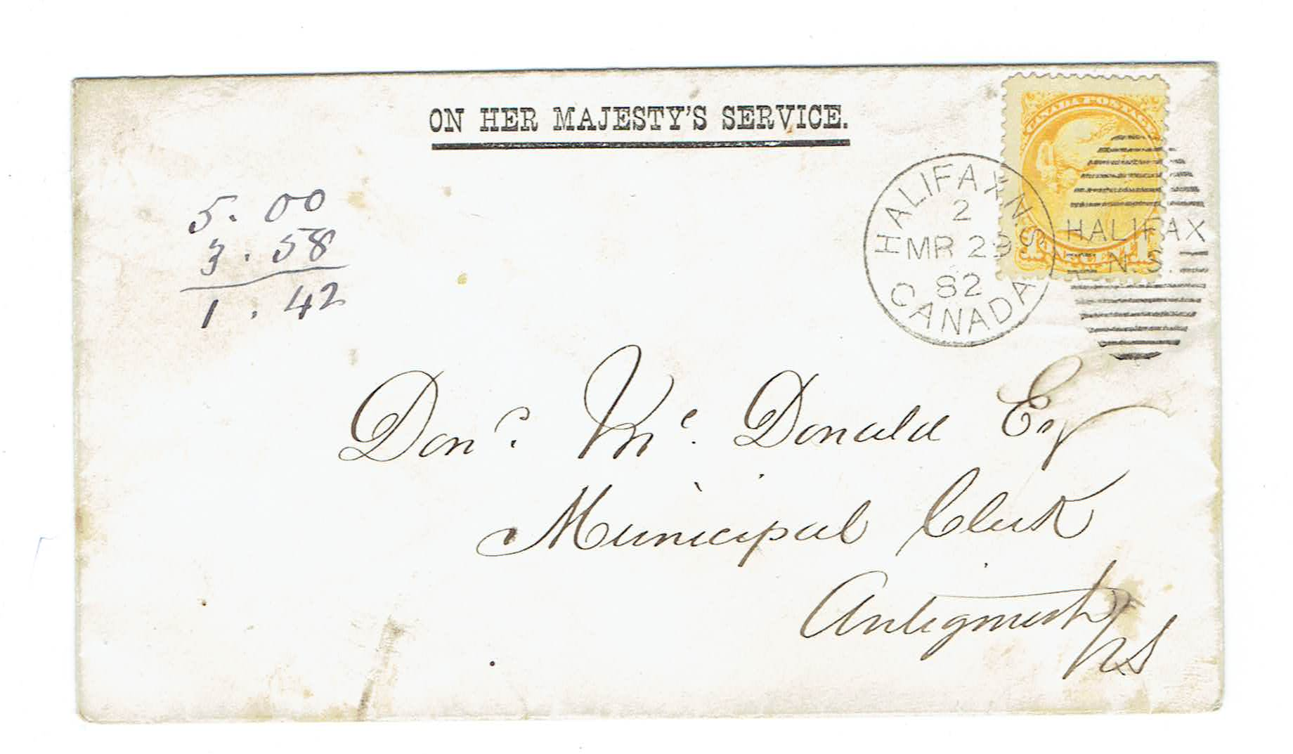 CANADA OHMS COVER 1882. Halifax, NS. Provincial