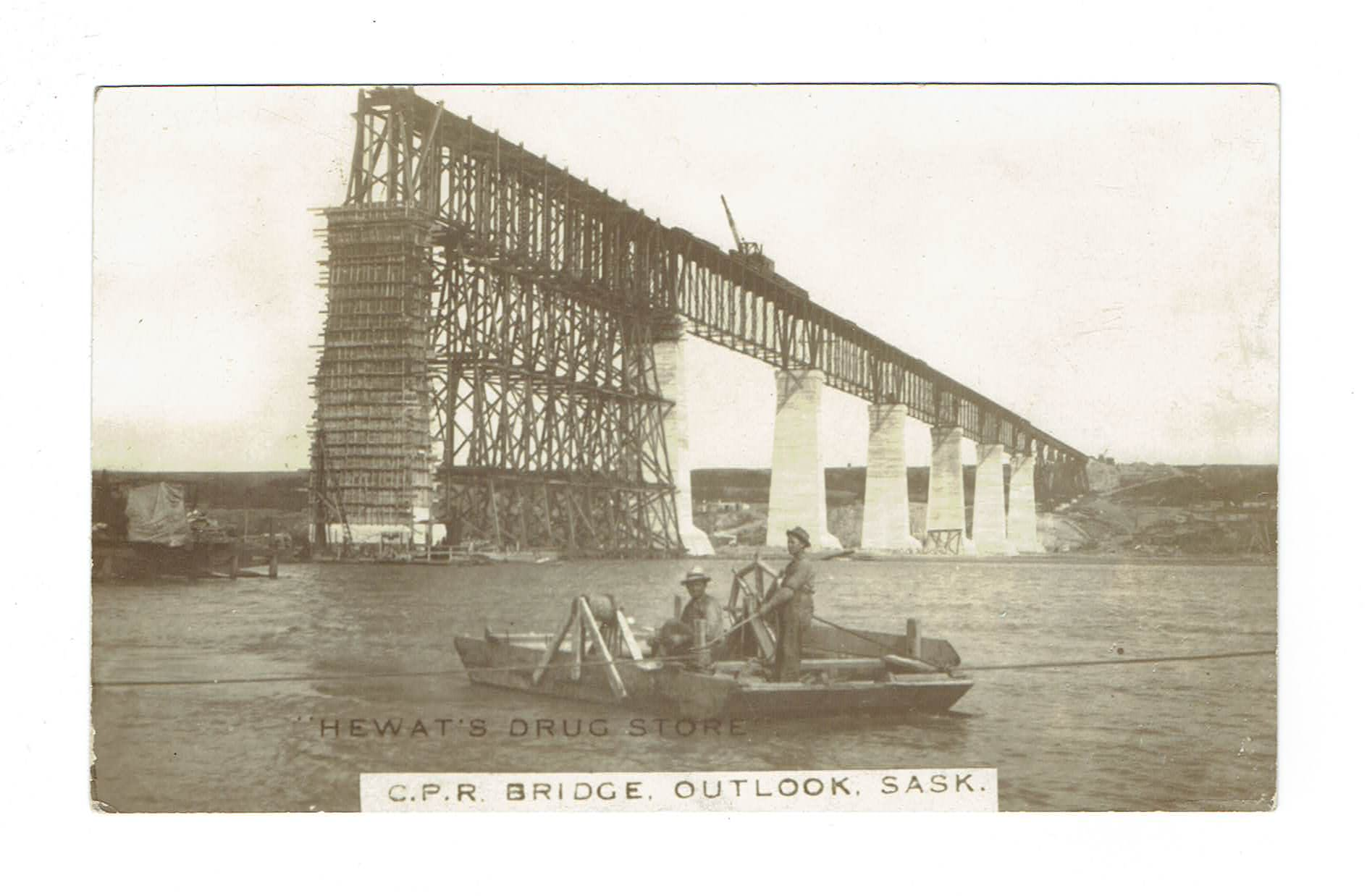 Outlook, SK. RPPC Postcard. C.P.R. Bridge Under Construction. Canada.