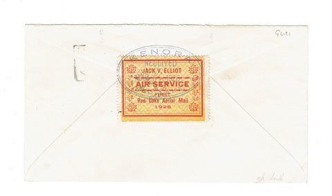 CL6. Semi Official Airmail Cover Rolling Portage To Red Lake. 1926 Bent Leaf Variety Canada