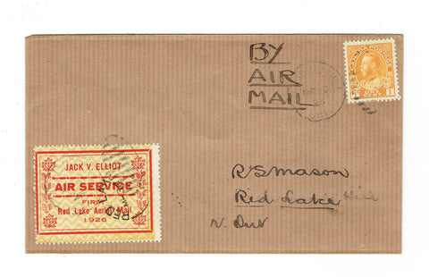 Canada CL6 Semi-Official Airmail Cover. Richmond Hill To Red Lake Via Rolling Portage. Rosette Variety. Canada