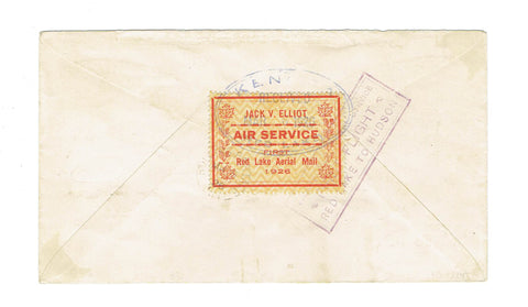 Canada CL6. Semi Official Airmail Cover. Red Lake To Rolling Portage. 1926. Dot/Dash Variety. Canada