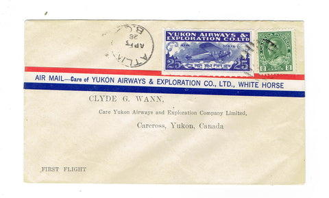 CL42. Semi Official Airmail Cover. Atlin, BC To Carcross, YT. April, 1928. Tied #107. Canada