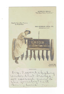 "OH, Springfield. Advertising Postcard. The Superior Drill Co. 1906. "" Dad's Girl"". Undivided Back. U.S.A."