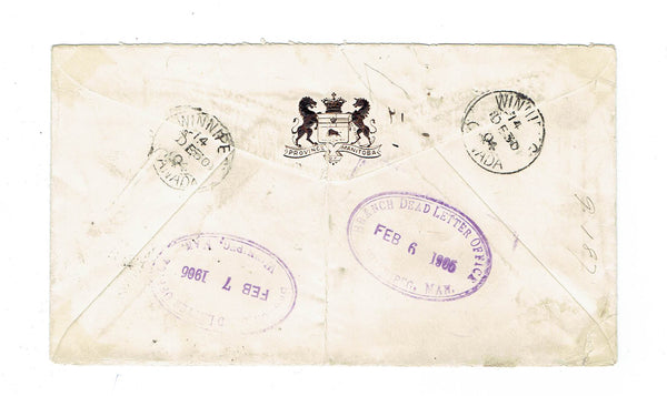 Winnipeg, MB. 1906 Registered Cover. Not In Directory. Dead Letter Office. Canada