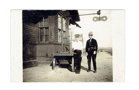 Railway Workers Conductor Pose For Photo at Depot Station RPPC