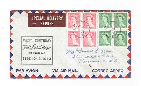Special Delivery Nelson BC. 1953 Exhibition Cover Airmail to Vancouver Canada