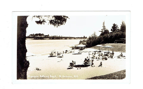 Canada St. Andrews, NB. Algonquin Beach With Sunbathers. RPPC Postcard. Canada