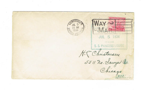 Way Mail Vancouver BC. 1934 Cover To Chicago IL  U.S.