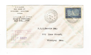 Registered First Day Cover. #216. Winnipeg, MB. May 4,1935. Local Use. Canada