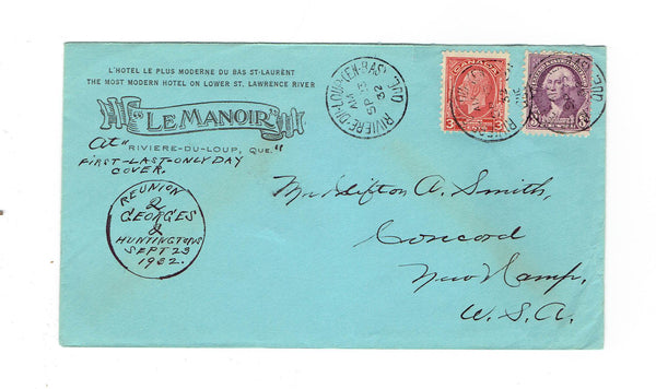 PQ. Riviere-Du-Loup. Le Manoir Hotel Advertising Cover. First-Last-Only Day Cover. Canada