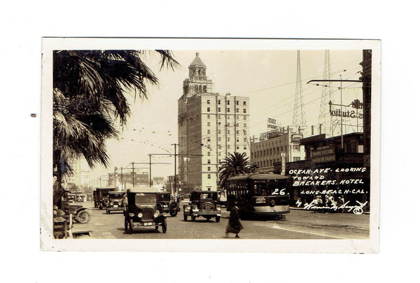 Long Beach, CA. RPPC Postcard. Street Scene. Ocean Ave Looking Towards Breakers Hotel. USA