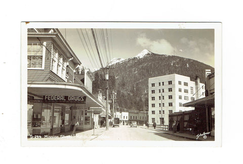 Ketchikan, AK. Street Scene With Storefronts, Automobiles And Shoppers. Postcard. USA