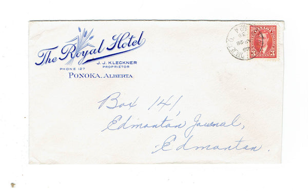 "Ponoka AB. 1939 Advert Cover ""The Royal Hotel"" RPO Calgary & Edmonton #4. Canada"