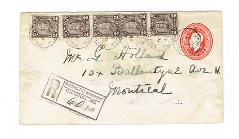 PQ. Montreal. Registered Postal Stationary Cover. #166. 1942. Local Use. Canada