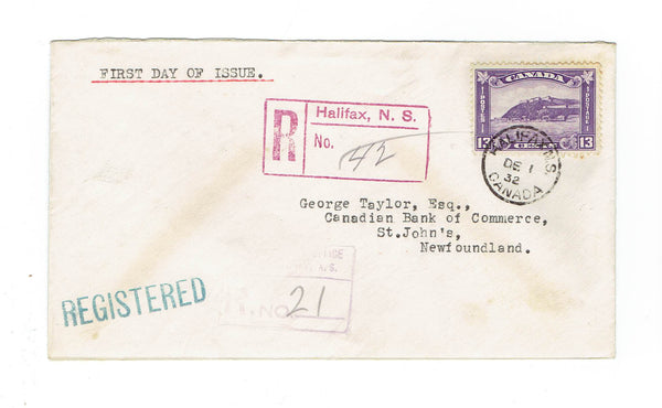 Newfoundland Registered First Day Cover. #201. Halifax, NS. To St. John, NL. Dec 1, 1932. Canada