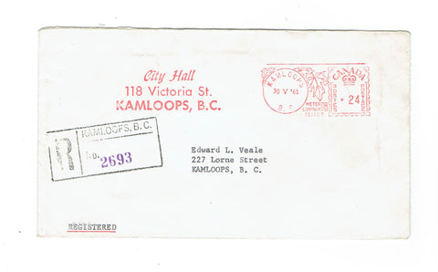 "Canada, Kamploops, BC. 1961 Registered Cover. ""City Hall"". Pays 24 Cent Rate. Local Use. Canada"