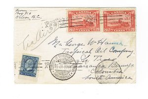 Canada, 1934 Airmail Cover. Triple Airmail Rate 45 c. #175(2) and #199(1). Nelson, BC To Baranquilla, CO.