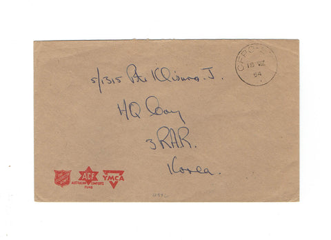 1954 Korean War Cover. FPO. To Headquarters Camp Korea. Salvation Army, YMCA and ACF Logos.