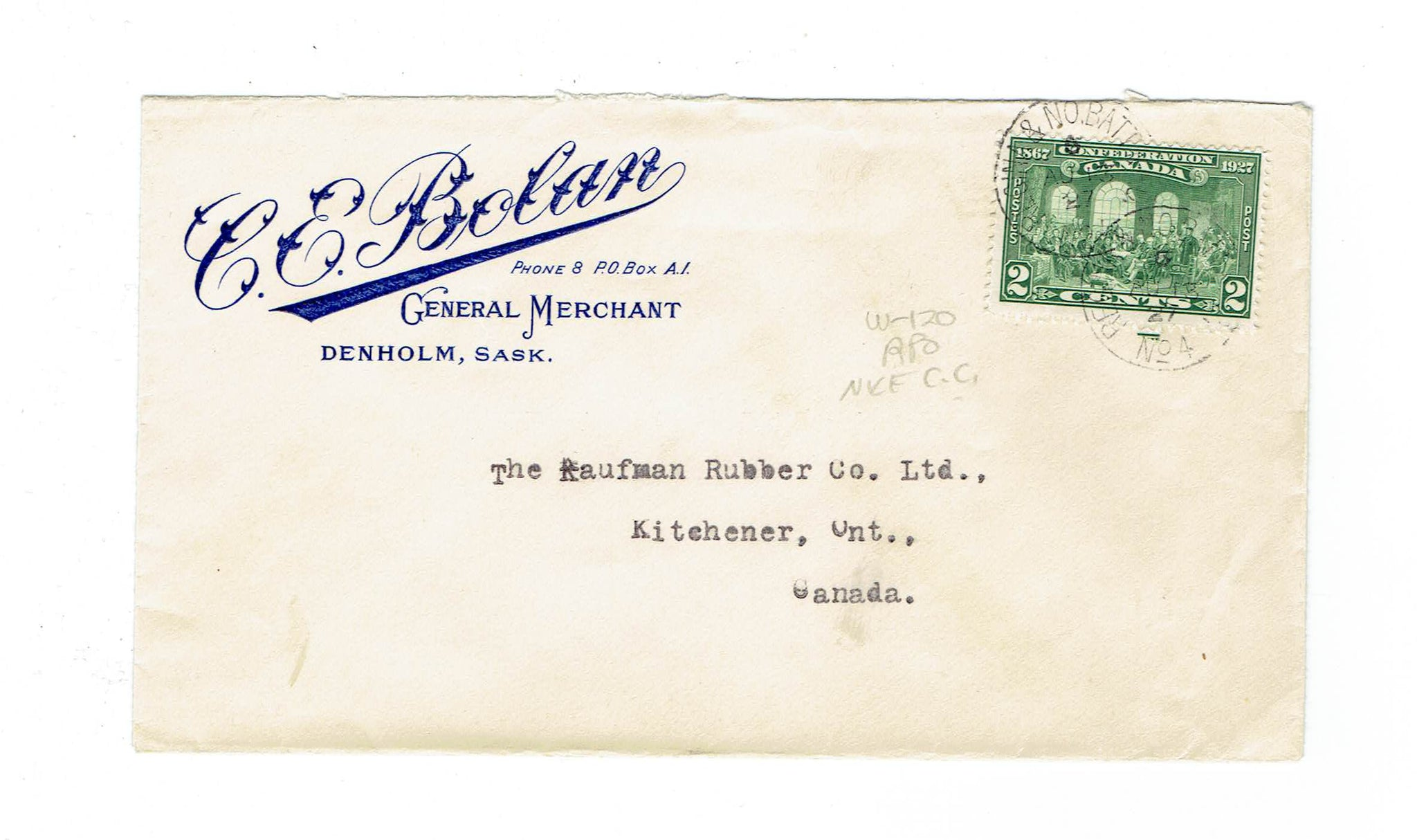 "Canada, Denholm, SK. 1927 Avertising Cover. ""C.E. Bolan General Merchants."" To Ontario. Canada."