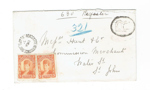 Newfoundland Registered Cover. #82x(2)Rencontre, Hermitage Bay. 1901. To St. John NL. B/S. Canada