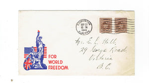 "AB. Edmonton 1943 Military Patriotic Cover. ""For World Freedom"" Canada"