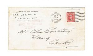 "Toronto, ON. 1938 Cover. Faint Handstamp ""Travelling Letter Box"". To Young, SK. Canada"