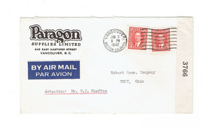 "BC. Vancouver 1942 Airmail Censored Advertising Cover ""Paragon Supplies"" To U.S."