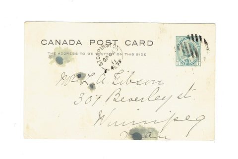 "AB, Stoppington. 1911 Postcard. ""E"". Split Ring. (1910-1931). Early Use. Canada"