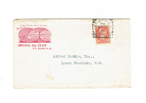 Imperial Oil Illustrated Advertising Cover. 1895. St. John, NB. To Lower Stewiake. Canada