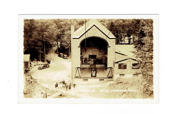 NH, MT Cannon. RPPC Postcard. Valley Station Passenger Tramway. 1930's. USA