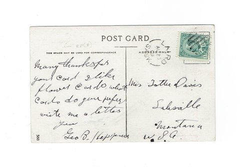 Laird, SK. 1909. Split Ring (Open Feb. 1, 1909) on postcard. Very Early Use. Canada