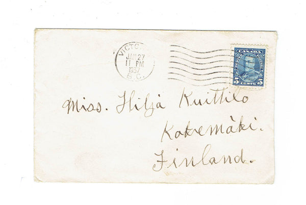 Victoria, BC. 1937 Cover. Single Use To Finland. Canada