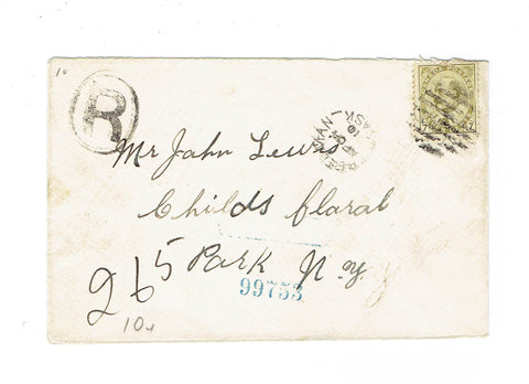 SK, Creelman. Registered Cover. 1910. Split Ring. To NY. B/S. Canada
