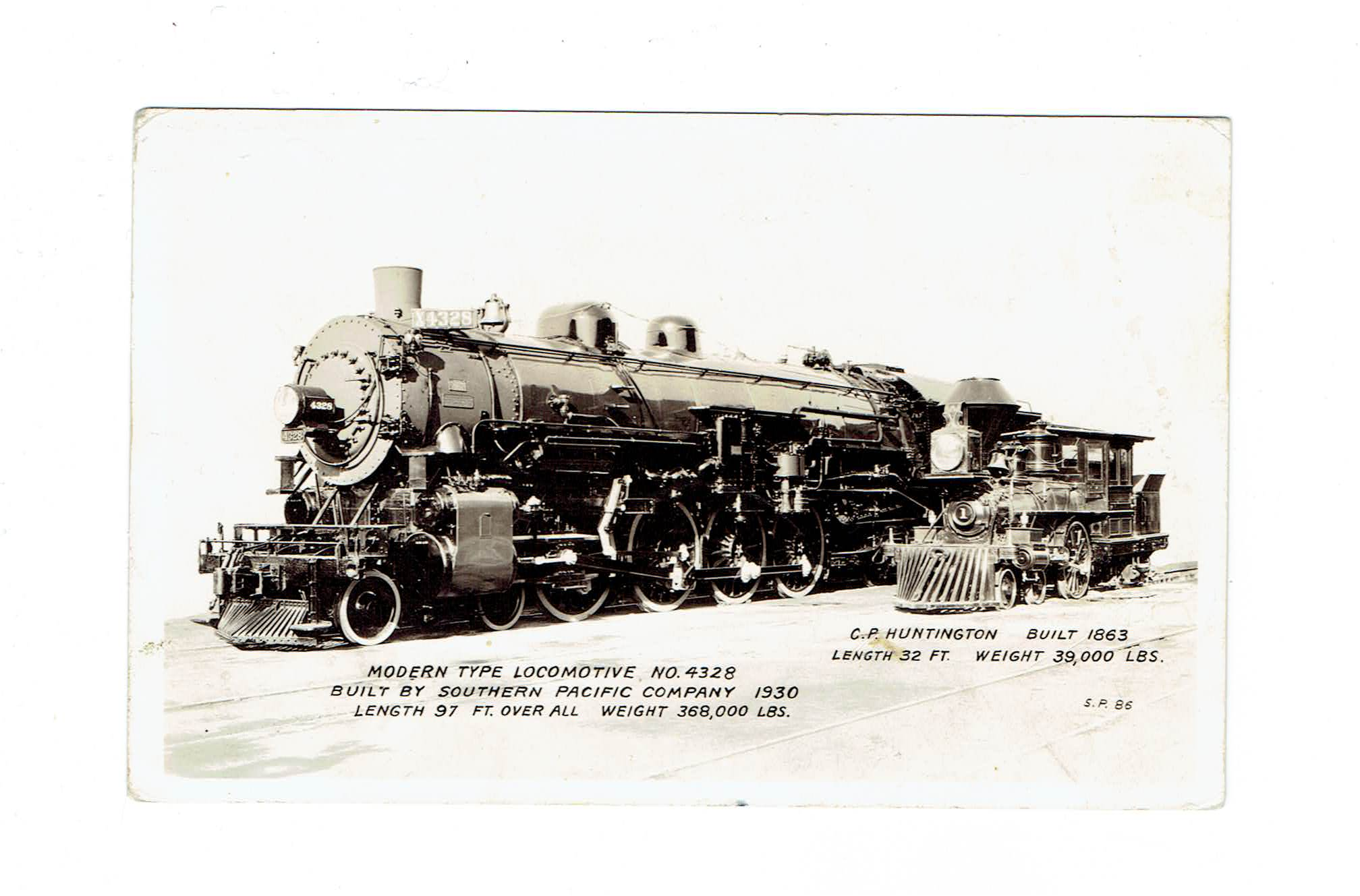 1863 And 1930 Train Engines Compared. RPPC Postcard.