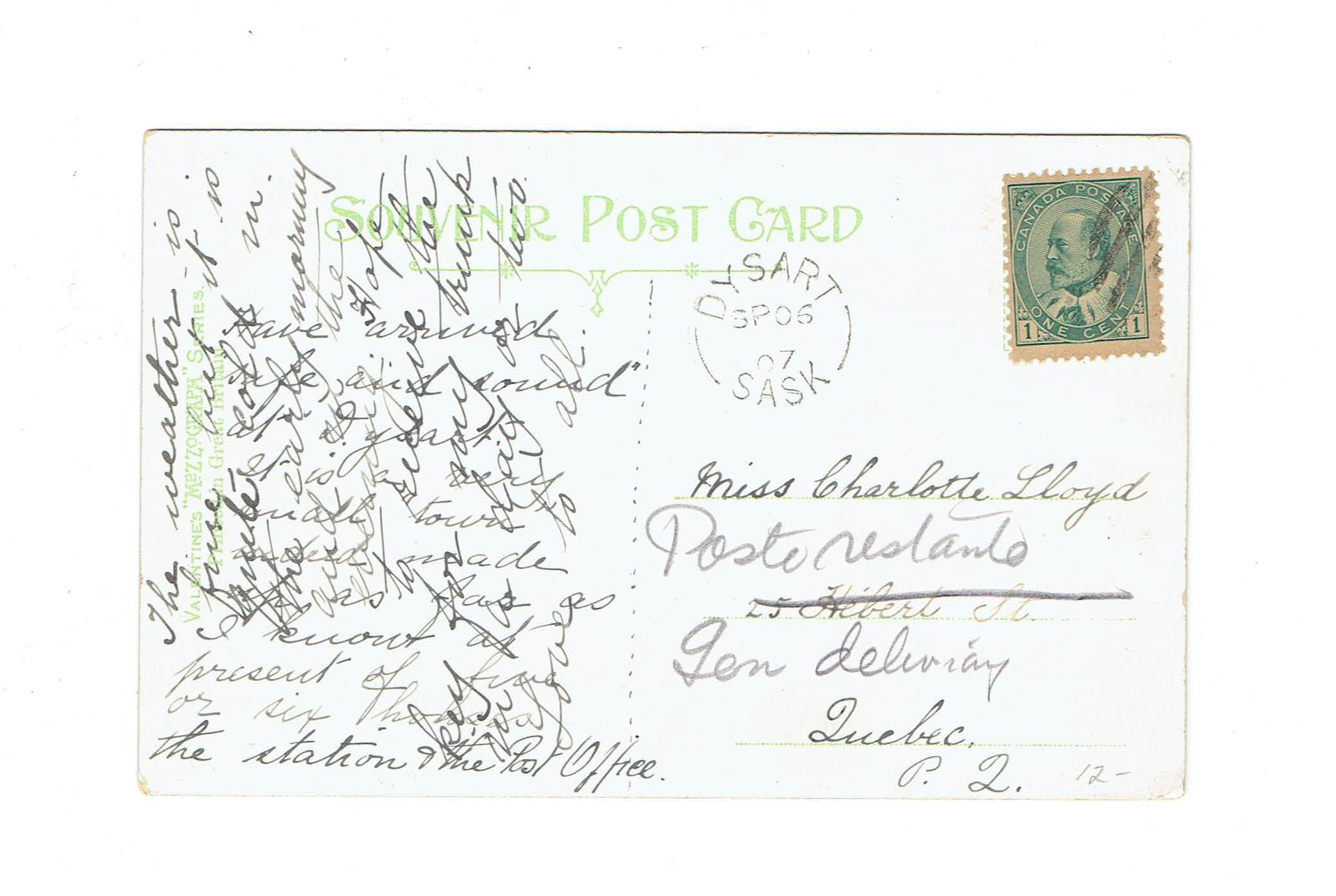 "Dysart, SK. 1907 Split Ring Postcard. RF ""B"". (1906-Open). Early Use. Canada"